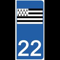 2 stickers pour plaque d'immatriculation pour Auto, 22 Côtes-d'Armor, Gwenn ha du, drapeau breton