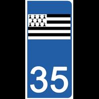 2 stickers pour plaque d'immatriculation pour Auto, 35 l'Ille et Vilaine, Gwenn ha du, drapeau breton