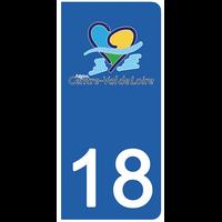 2 stickers pour plaque d'immatriculation pour Auto, 18 Cher