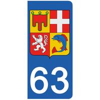 2 stickers pour plaque d'immatriculation pour Auto, 63 Puy de Dôme