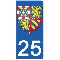 2 stickers pour plaque d'immatriculation pour Auto, 25 Doubs