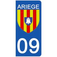 2 stickers pour plaque d'immatriculation pour Auto, 09 blason de l'Ariège