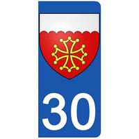 2 stickers pour plaque d'immatriculation pour Auto, 30, Blason du Gard