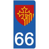 2 stickers pour plaque d'immatriculation pour Auto, 66 Pyrénées Orientales