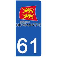 2 stickers pour plaque d'immatriculation pour Auto, 61 Orne