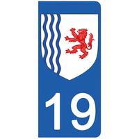 2 stickers pour plaque d'immatriculation pour Auto, 19 Corréze