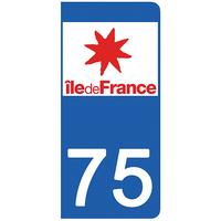 2 stickers pour plaque d'immatriculation pour Auto, 75 PARIS