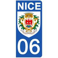 2 stickers pour plaque d'immatriculation pour Auto, 06 Blason de NICE FB