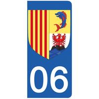 2 stickers pour plaque d'immatriculation pour Auto, 06 Alpes Maritime