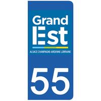 2 stickers pour plaque d'immatriculation pour Auto, 55 Meuse