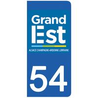 2 stickers pour plaque d'immatriculation pour Auto, 54 Meurthe et Moselle