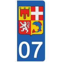 2 stickers pour plaque d'immatriculation pour Auto, 07 Ardèche