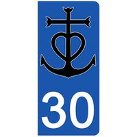 2 stickers pour plaque d'immatriculation pour Auto, 30 Gard, Camargue