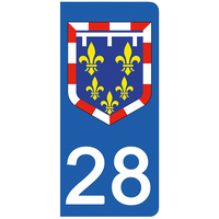2 stickers pour plaque d'immatriculation, 28 Eure et Loir