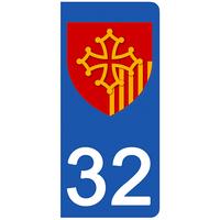 2 stickers pour plaque d'immatriculation pour Auto, 32 Gers
