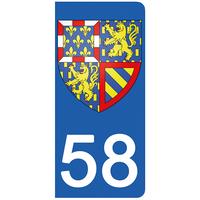 2 stickers pour plaque d'immatriculation pour Auto, 58 Nièvre