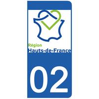 2 stickers pour plaque d'immatriculation pour Auto, 02 Aisne