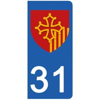 2 stickers pour plaque d'immatriculation pour Auto, 31 Haute Garonne