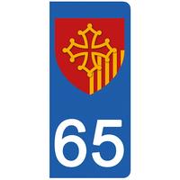 2 stickers pour plaque d'immatriculation pour Auto, 65 Hautes Pyrénées