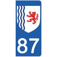 2 stickers pour plaque d'immatriculation pour Auto, 87 Haute Vienne