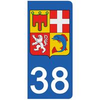 2 stickers pour plaque d'immatriculation pour Auto, 38 blason de l'Isère