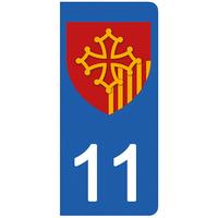 2 stickers pour plaque d'immatriculation pour Auto, 11 Aude