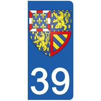 2 stickers pour plaque d'immatriculation pour Auto, 39 Jura