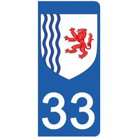 2 stickers pour plaque d'immatriculation pour Auto, 33 Gironde