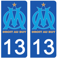2 stickers pour plaque d'immatriculation pour Auto, 13, Olympique Marseillais, OM edition Limitée 100 ex.