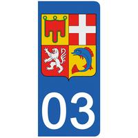 2 stickers pour plaque d'immatriculation pour Auto, 03 Allier