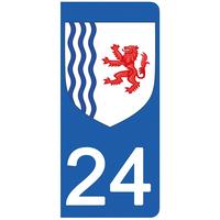 2 stickers pour plaque d'immatriculation pour Auto, 24 Dordogne