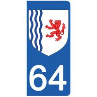 2 stickers pour plaque d'immatriculation pour Auto, 64 Pyrénée Atlantiques