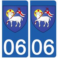 2 stickers pour plaque d'immatriculation pour Auto, 06 Grasse