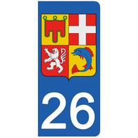 2 stickers pour plaque d'immatriculation pour Auto, 26 Drôme