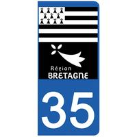 2 stickers pour plaque d'immatriculation pour Auto, 35 Ille et Vilaine