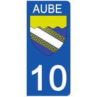 2 stickers pour plaque d'immatriculation pour Auto, 10 blason de l'Aube