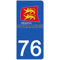 2 stickers pour plaque d'immatriculation pour Auto, 76 Seine Maritime