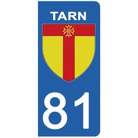 2 stickers pour plaque d'immatriculation pour Auto, 81 blason du Tarn