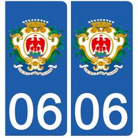 2 stickers pour plaque d'immatriculation pour Auto, 06 Blason de NICE