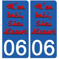 2 stickers pour plaque d'immatriculation pour Auto, 06 NICE M'en bati sieu Nissart