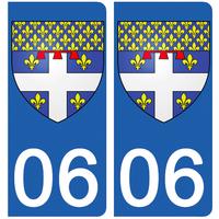 2 stickers pour plaque d'immatriculation pour Auto, 06 Antibes