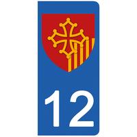 2 stickers pour plaque d'immatriculation pour Auto, 12 Aveyron