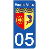 2 stickers pour plaque d'immatriculation pour Auto, 05 blason Hautes Alpes