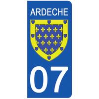 2 stickers pour plaque d'immatriculation pour Auto, 07 blason de l'Ardèche