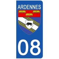 2 stickers pour plaque d'immatriculation pour Auto, 08 blason des Ardennes