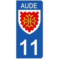 2 stickers pour plaque d'immatriculation pour Auto, 11 blason Aude