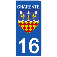 Badges, Insignes, Mascottes Automobilia Popular Brand 16 Charente Departement Immatriculation 2 X Autocollants Sticker Autos