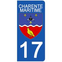 2 stickers pour plaque d'immatriculation pour Auto, 17 blason Charente Maritime