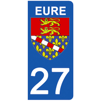 2 stickers pour plaque d'immatriculation pour Auto, 27 blason de l'Eure