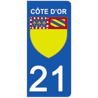 2 stickers pour plaque d'immatriculation pour Auto, 21 blason Côte d'Or